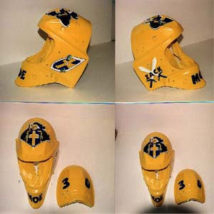 Cincinnati Makeup Artist Jodi Byrne Automotive Yellow Hockey Helmet wth Crest and Name