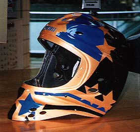 Cincinnati Makeup Artist Jodi Byrne Automotive Gold Blue Black Hockey Helmet
